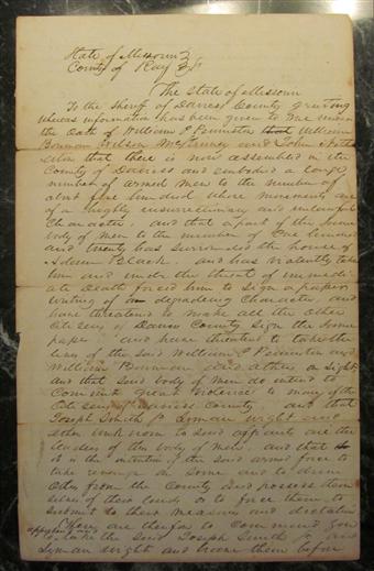 Warrant, 10 August 1838 [State of Missouri v  JS et al  for