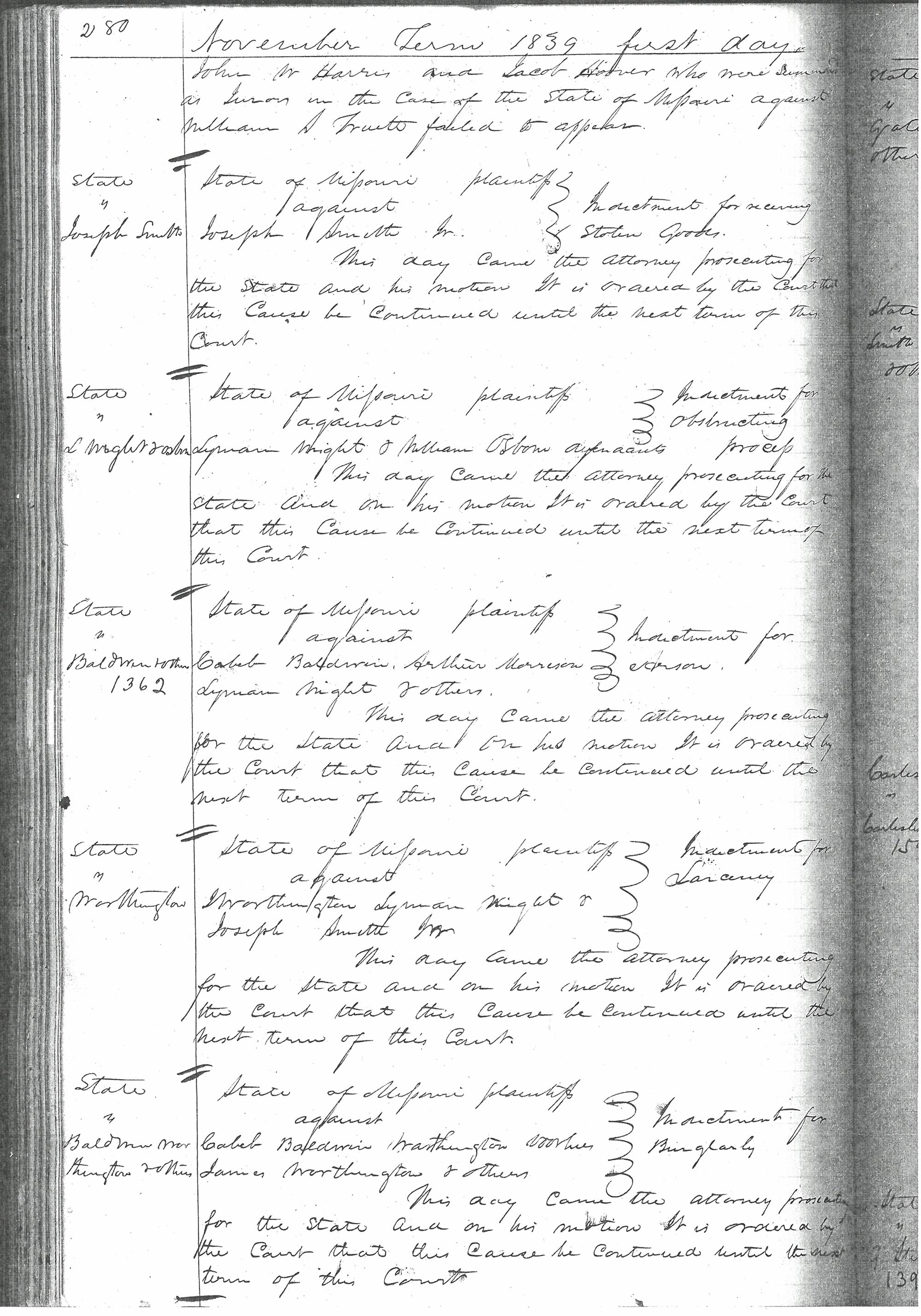 Docket Entry, Continuance, 4 November 1839 [State of Missouri v
